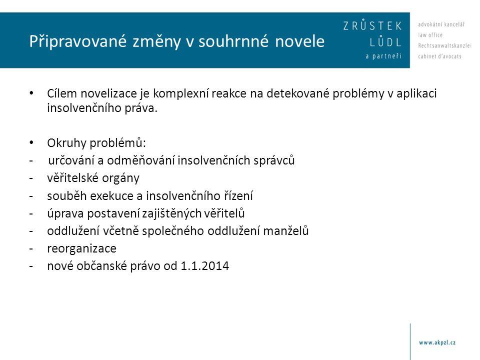 Připravované změny v souhrnné novele • Cílem novelizace je komplexní reakce na detekované problémy v aplikaci insolvenčního práva. • Okruhy problémů: