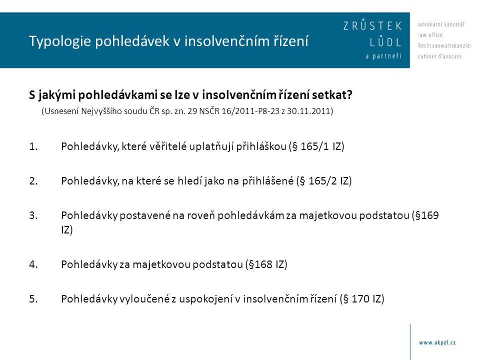 Typologie pohledávek v insolvenčním řízení S jakými pohledávkami se lze v insolvenčním řízení setkat? (Usnesení Nejvyššího soudu ČR sp. zn. 29 NSČR 16