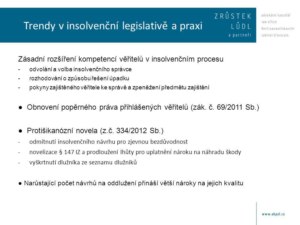 Trendy v insolvenční legislativě a praxi Zásadní rozšíření kompetencí věřitelů v insolvenčním procesu -odvolání a volba insolvenčního správce -rozhodo