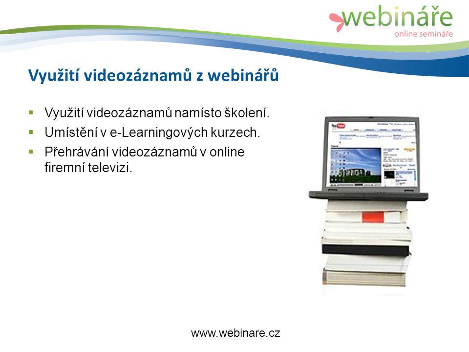 Využití videozáznamů z webinářů  Využití videozáznamů namísto školení.