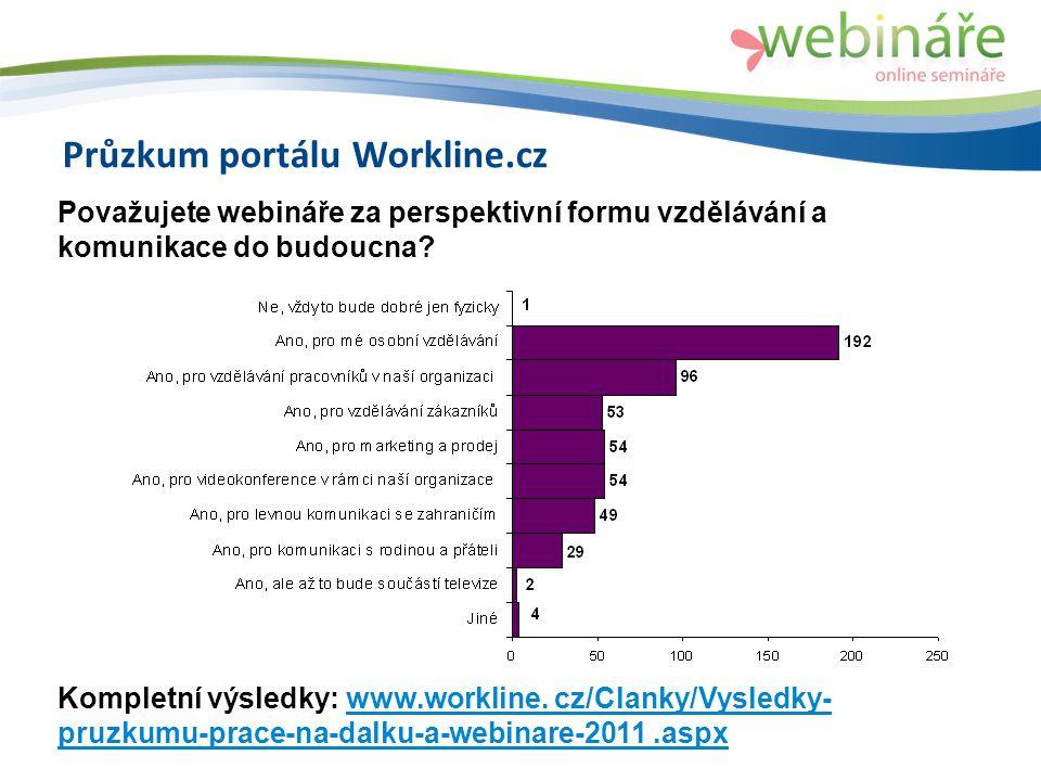 Průzkum portálu Workline.cz Považujete webináře za perspektivní formu vzdělávání a komunikace do budoucna.