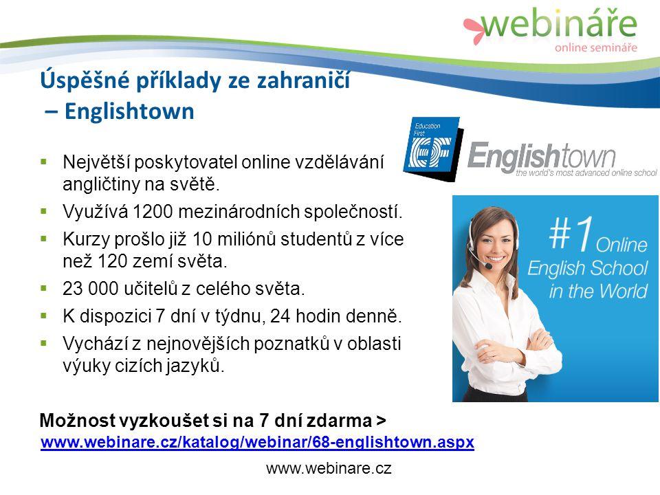 Úspěšné příklady ze zahraničí – Englishtown  Největší poskytovatel online vzdělávání angličtiny na světě.