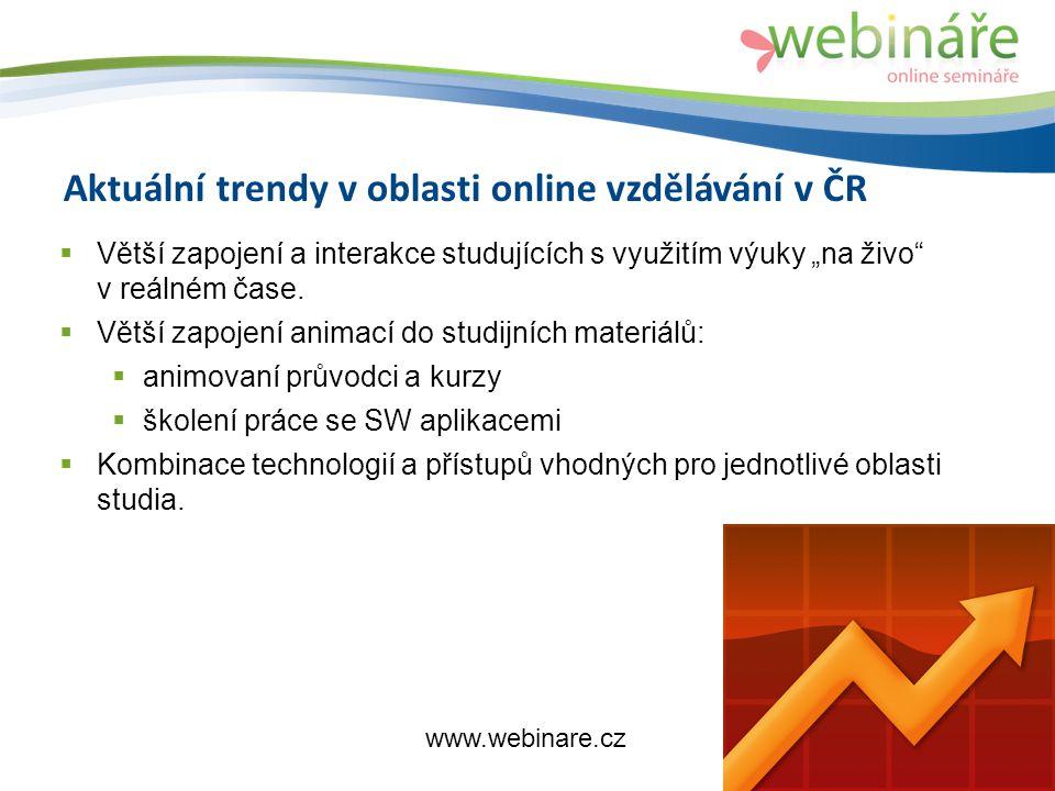 """Aktuální trendy v oblasti online vzdělávání v ČR  Větší zapojení a interakce studujících s využitím výuky """"na živo v reálném čase."""