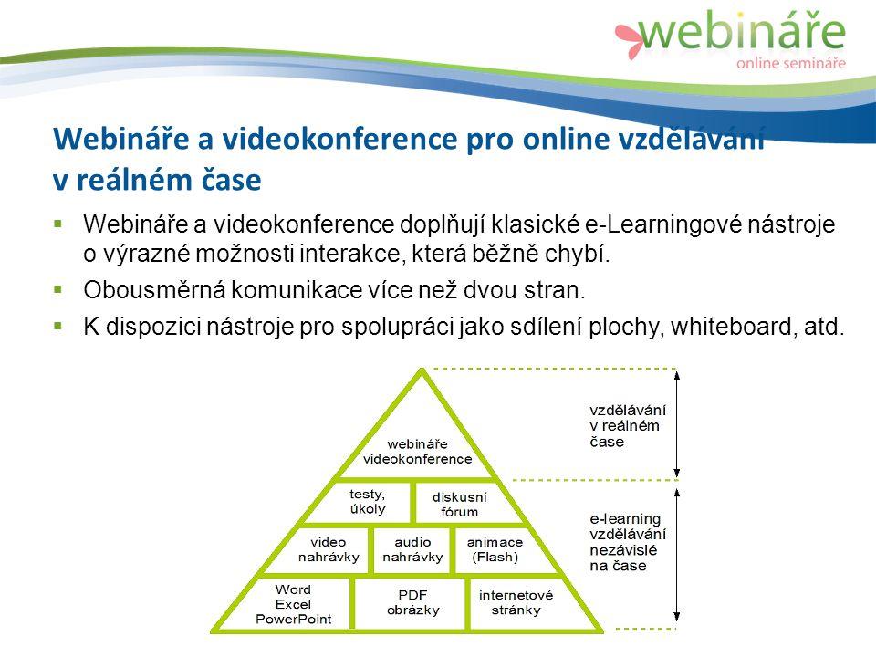 Webináře a videokonference pro online vzdělávání v reálném čase  Webináře a videokonference doplňují klasické e-Learningové nástroje o výrazné možnosti interakce, která běžně chybí.