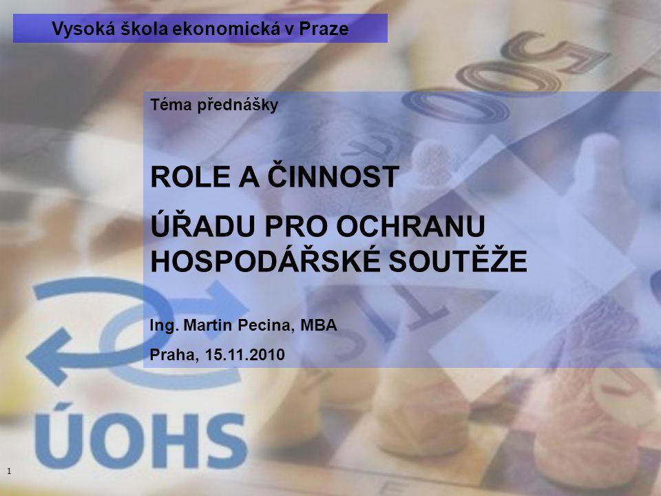 1 Téma přednášky ROLE A ČINNOST ÚŘADU PRO OCHRANU HOSPODÁŘSKÉ SOUTĚŽE Ing.