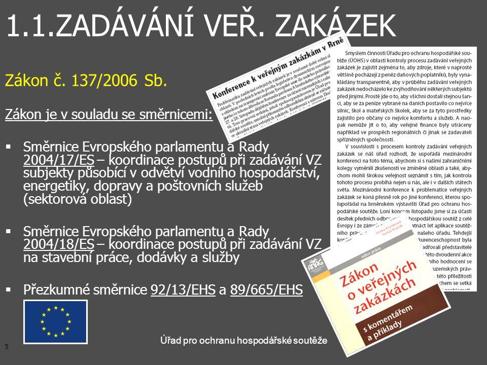5 Úřad pro ochranu hospodářské soutěže Zákon č.137/2006 Sb.