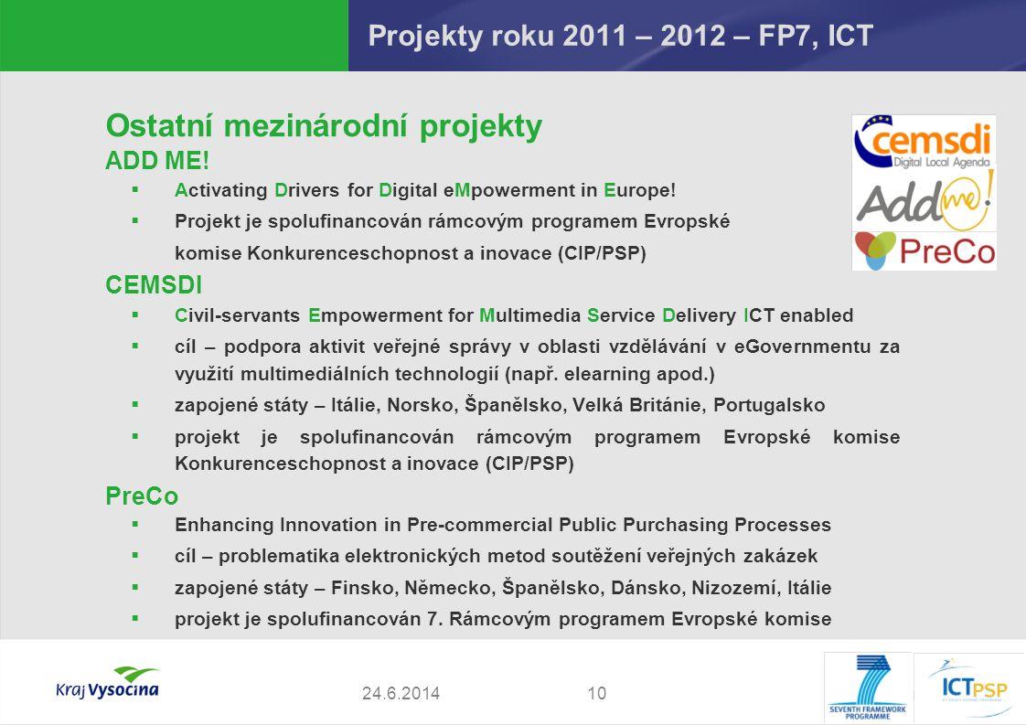 P. Pavlinec1024.6.2014 Ostatní mezinárodní projekty ADD ME!  Activating Drivers for Digital eMpowerment in Europe!  Projekt je spolufinancován rámco