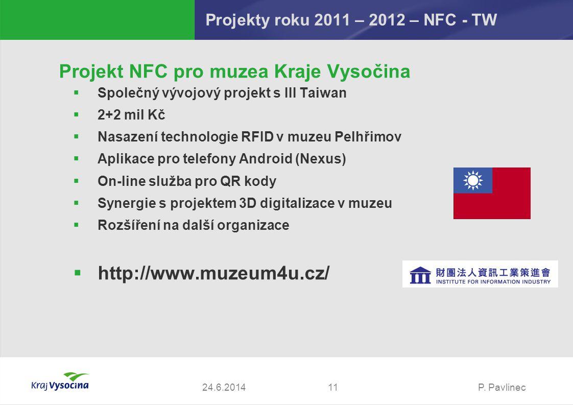 P. Pavlinec1124.6.2014 Projekt NFC pro muzea Kraje Vysočina  Společný vývojový projekt s III Taiwan  2+2 mil Kč  Nasazení technologie RFID v muzeu