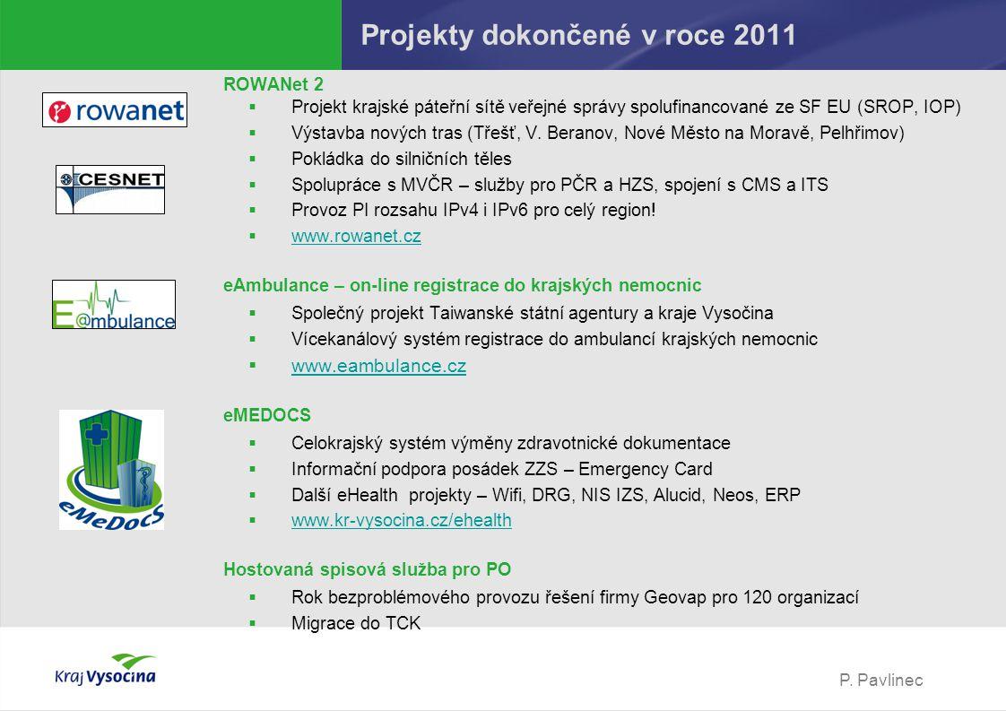 P. Pavlinec Projekty dokončené v roce 2011 ROWANet 2  Projekt krajské páteřní sítě veřejné správy spolufinancované ze SF EU (SROP, IOP)  Výstavba no
