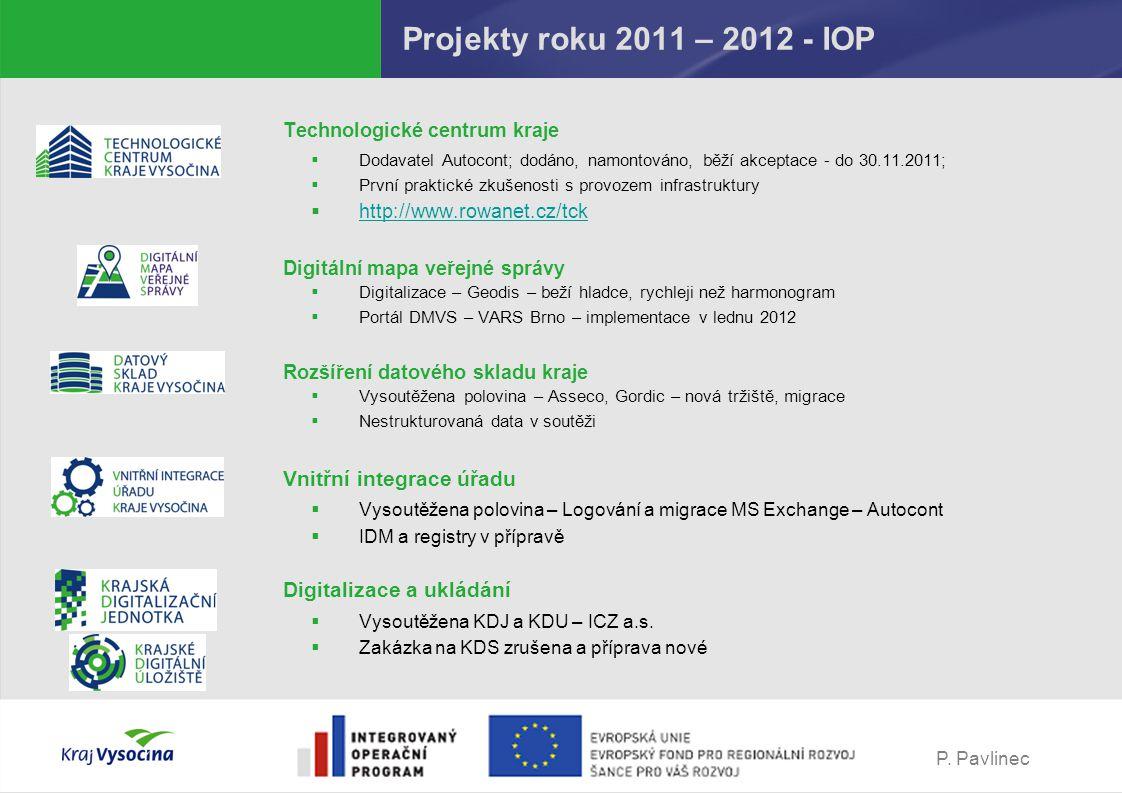 P. Pavlinec Projekty roku 2011 – 2012 - IOP Technologické centrum kraje  Dodavatel Autocont; dodáno, namontováno, běží akceptace - do 30.11.2011;  P