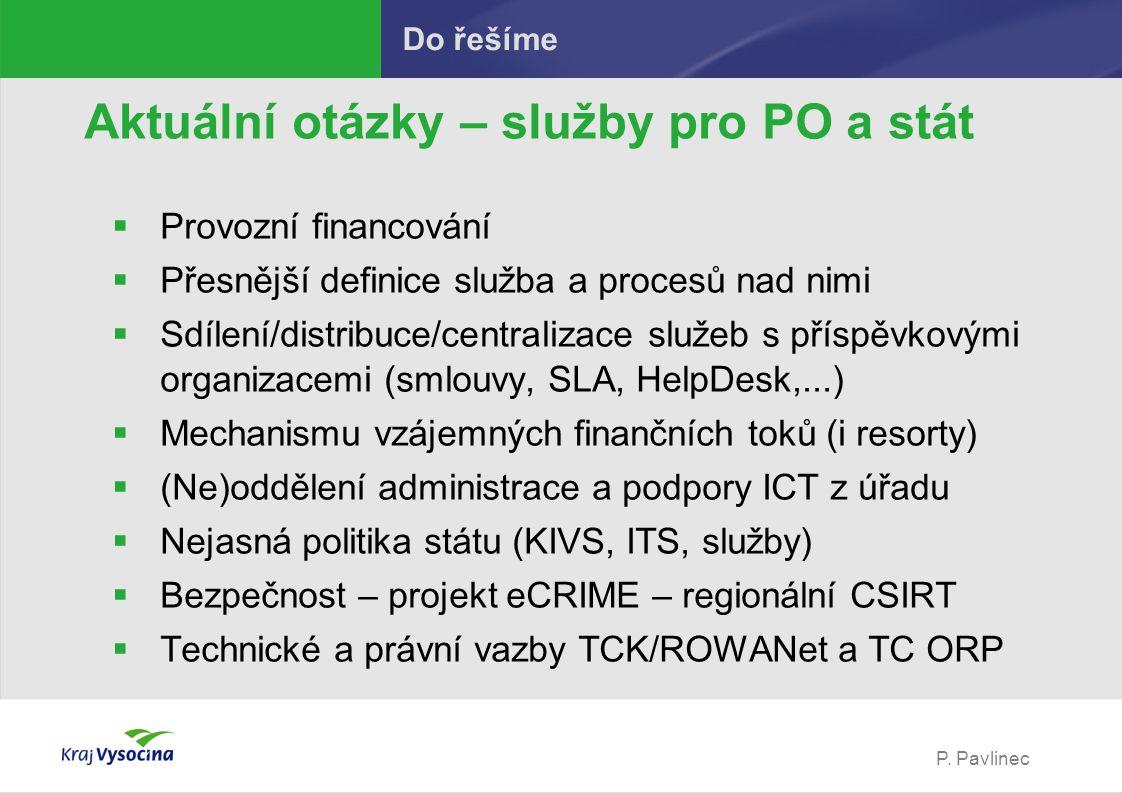 P. Pavlinec Do řešíme Aktuální otázky – služby pro PO a stát  Provozní financování  Přesnější definice služba a procesů nad nimi  Sdílení/distribuc