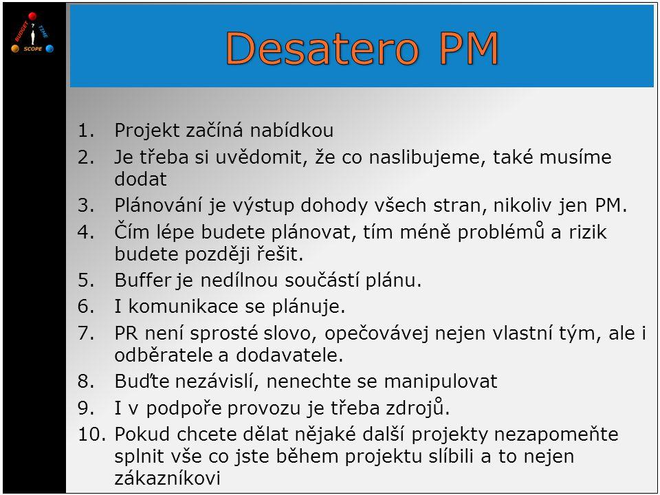 1.Projekt začíná nabídkou 2.Je třeba si uvědomit, že co naslibujeme, také musíme dodat 3.Plánování je výstup dohody všech stran, nikoliv jen PM.