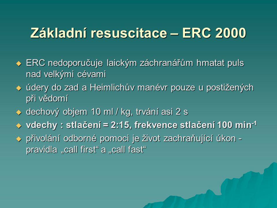 Základní resuscitace – ERC 2000  ERC nedoporučuje laickým záchranářům hmatat puls nad velkými cévami  údery do zad a Heimlichův manévr pouze u posti