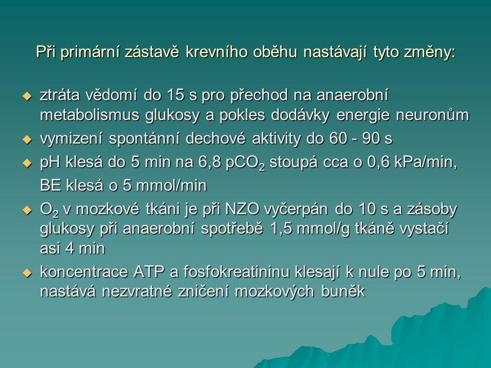 Při primární zástavě krevního oběhu nastávají tyto změny:  ztráta vědomí do 15 s pro přechod na anaerobní metabolismus glukosy a pokles dodávky energ