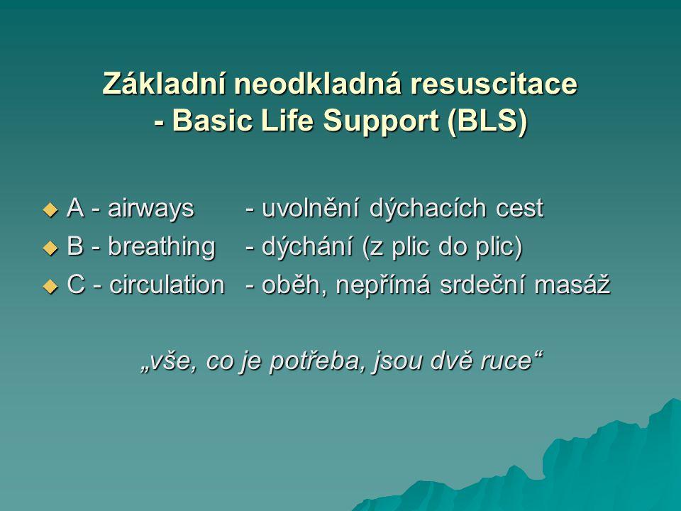 Základní neodkladná resuscitace - Basic Life Support (BLS)  A - airways- uvolnění dýchacích cest  B - breathing- dýchání (z plic do plic)  C - circ