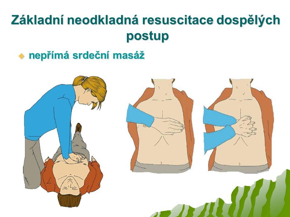 Základní neodkladná resuscitace dospělých postup  nepřímá srdeční masáž