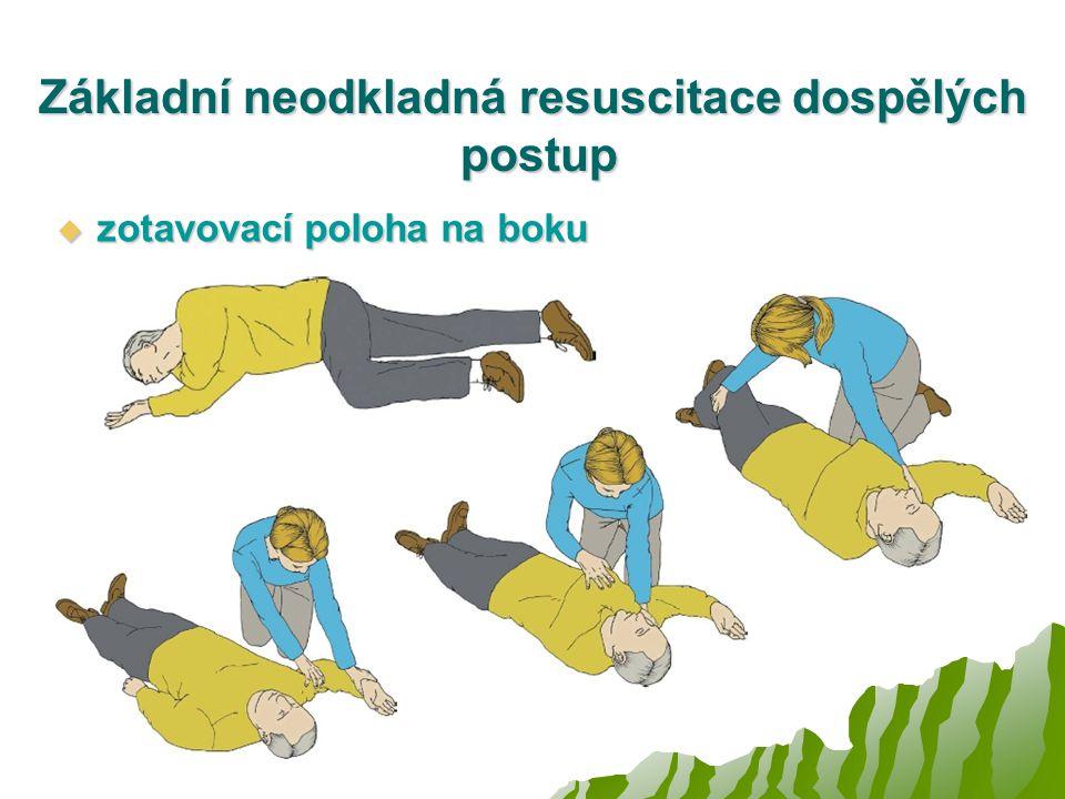 Základní neodkladná resuscitace dospělých postup  zotavovací poloha na boku