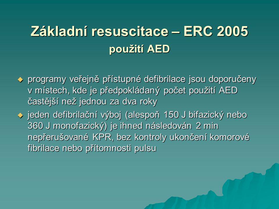 Základní resuscitace – ERC 2005 použití AED  programy veřejně přístupné defibrilace jsou doporučeny v místech, kde je předpokládaný počet použití AED