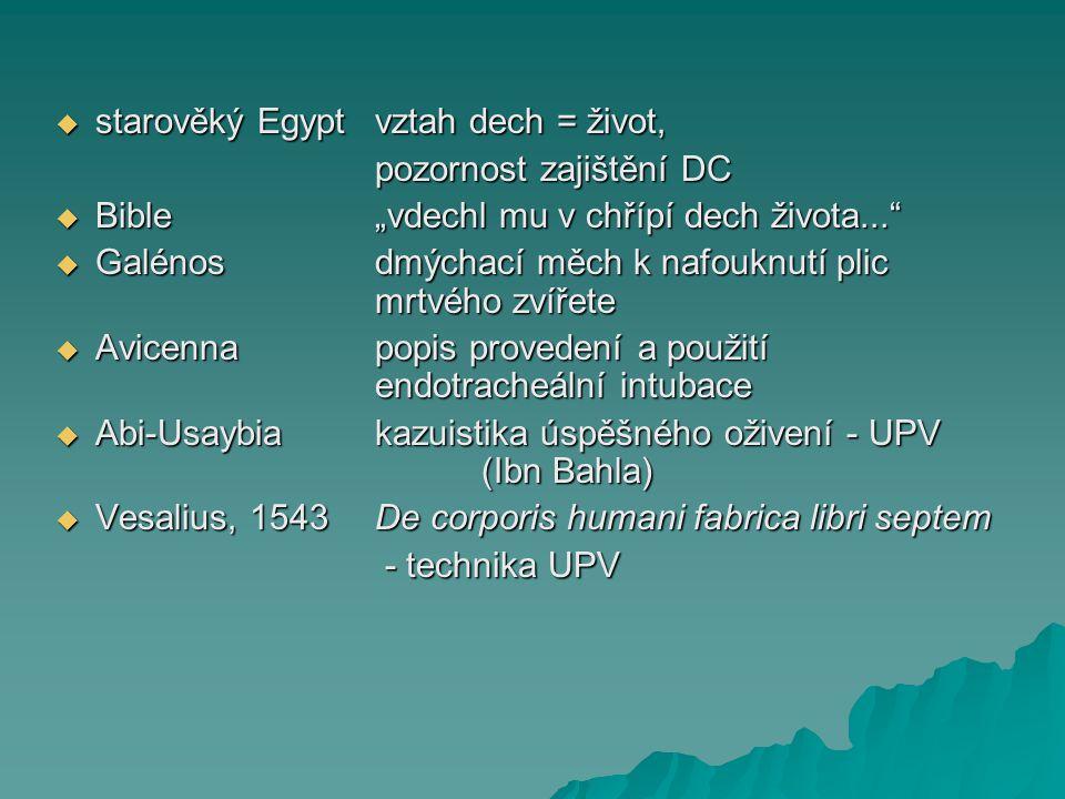 """ starověký Egyptvztah dech = život, pozornost zajištění DC  Bible""""vdechl mu v chřípí dech života...""""  Galénosdmýchací měch k nafouknutí plic mrtvéh"""