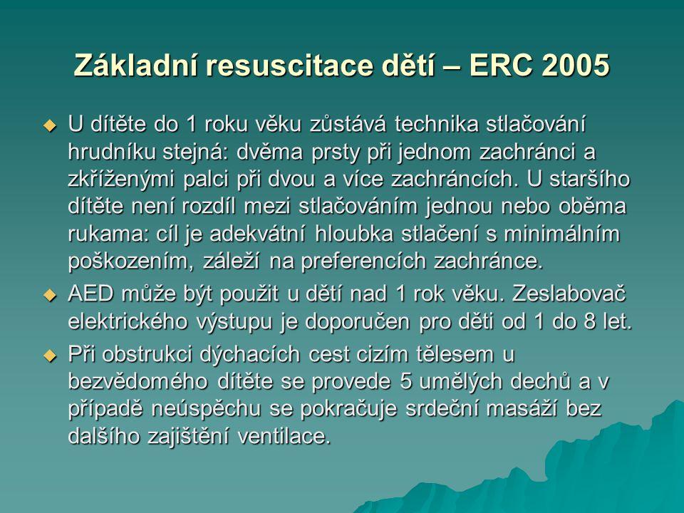 Základní resuscitace dětí – ERC 2005  U dítěte do 1 roku věku zůstává technika stlačování hrudníku stejná: dvěma prsty při jednom zachránci a zkřížen