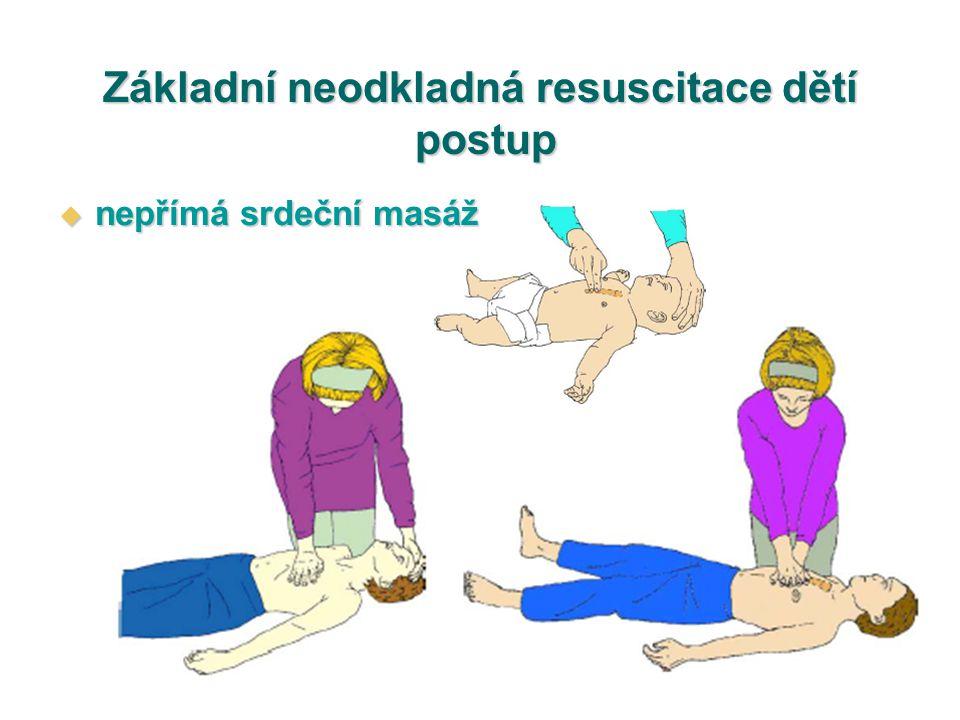 Základní neodkladná resuscitace dětí postup  nepřímá srdeční masáž