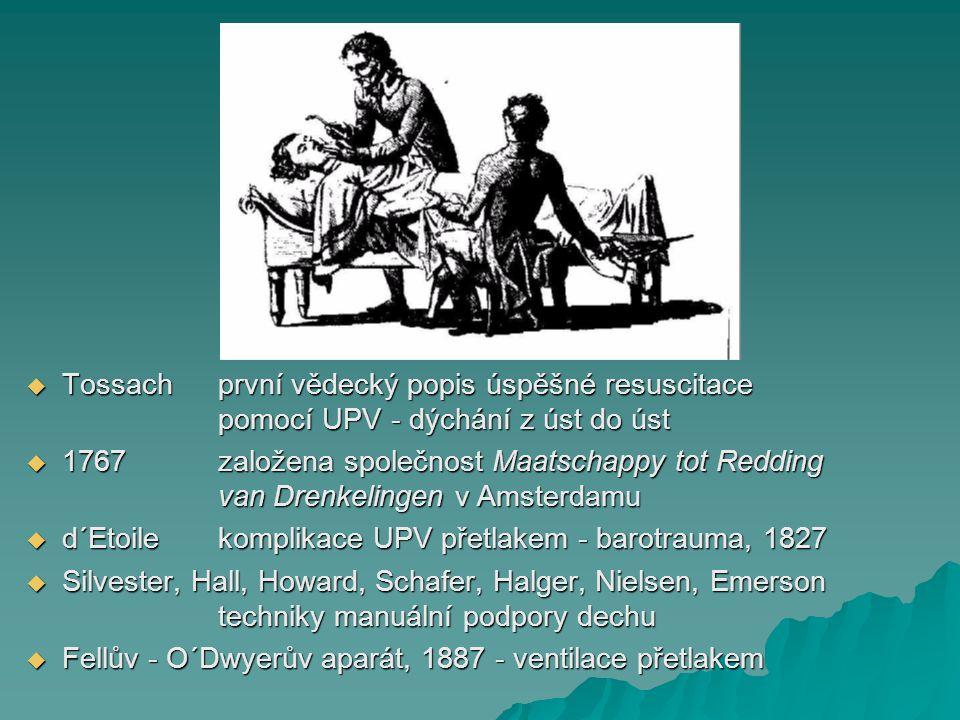  Tossachprvní vědecký popis úspěšné resuscitace pomocí UPV - dýchání z úst do úst  1767 založena společnost Maatschappy tot Redding van Drenkelingen
