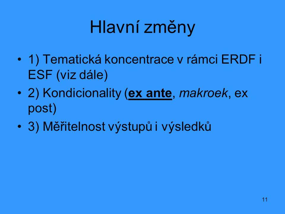 11 Hlavní změny •1) Tematická koncentrace v rámci ERDF i ESF (viz dále) •2) Kondicionality (ex ante, makroek, ex post) •3) Měřitelnost výstupů i výsle