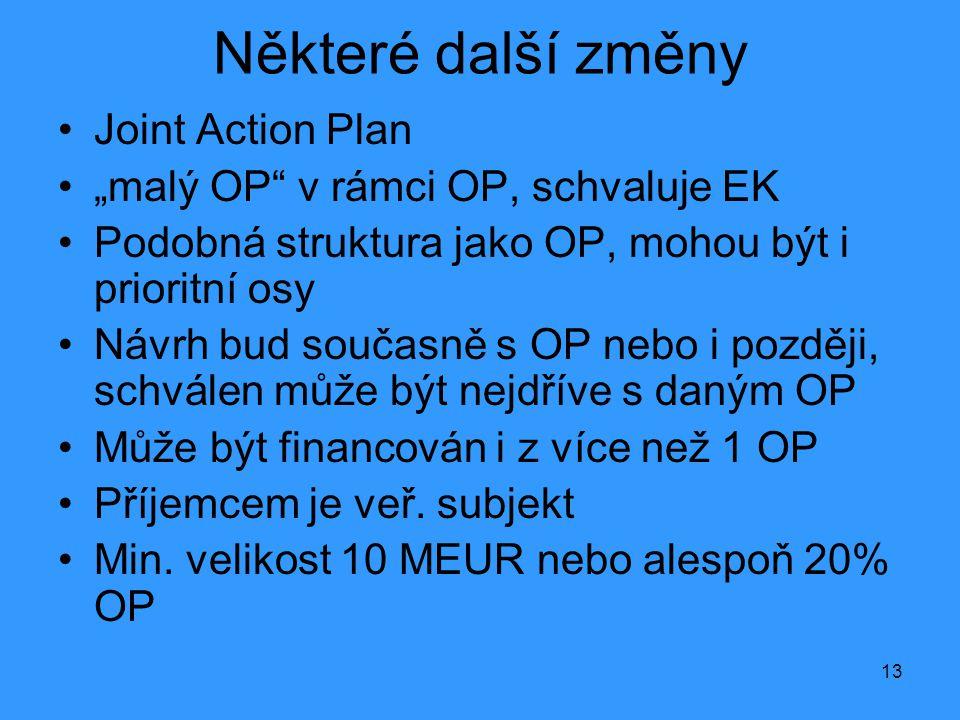 """13 Některé další změny •Joint Action Plan •""""malý OP v rámci OP, schvaluje EK •Podobná struktura jako OP, mohou být i prioritní osy •Návrh bud současně s OP nebo i později, schválen může být nejdříve s daným OP •Může být financován i z více než 1 OP •Příjemcem je veř."""