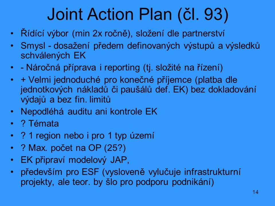 14 Joint Action Plan (čl. 93) •Řídící výbor (min 2x ročně), složení dle partnerství •Smysl - dosažení předem definovaných výstupů a výsledků schválený