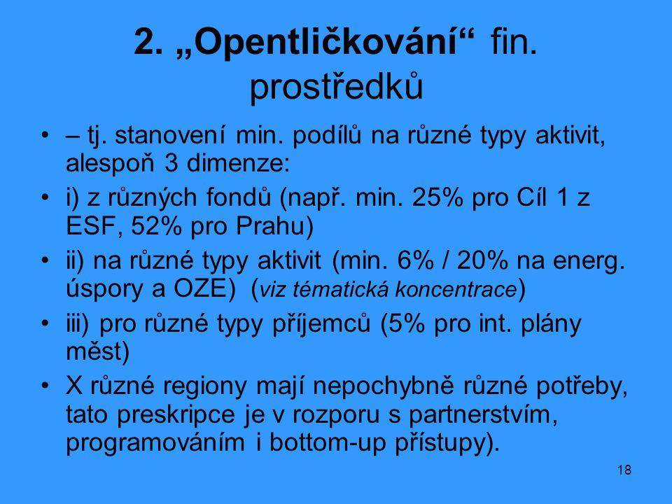 """18 2. """"Opentličkování"""" fin. prostředků •– tj. stanovení min. podílů na různé typy aktivit, alespoň 3 dimenze: •i) z různých fondů (např. min. 25% pro"""