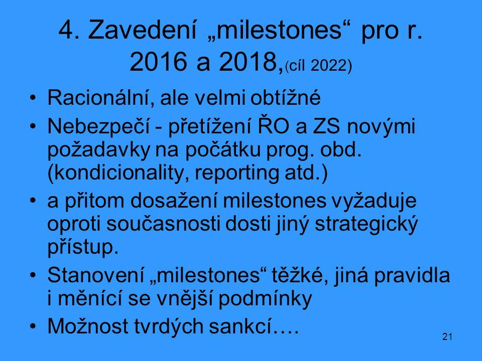 """21 4. Zavedení """"milestones"""" pro r. 2016 a 2018, ( cíl 2022) •Racionální, ale velmi obtížné •Nebezpečí - přetížení ŘO a ZS novými požadavky na počátku"""