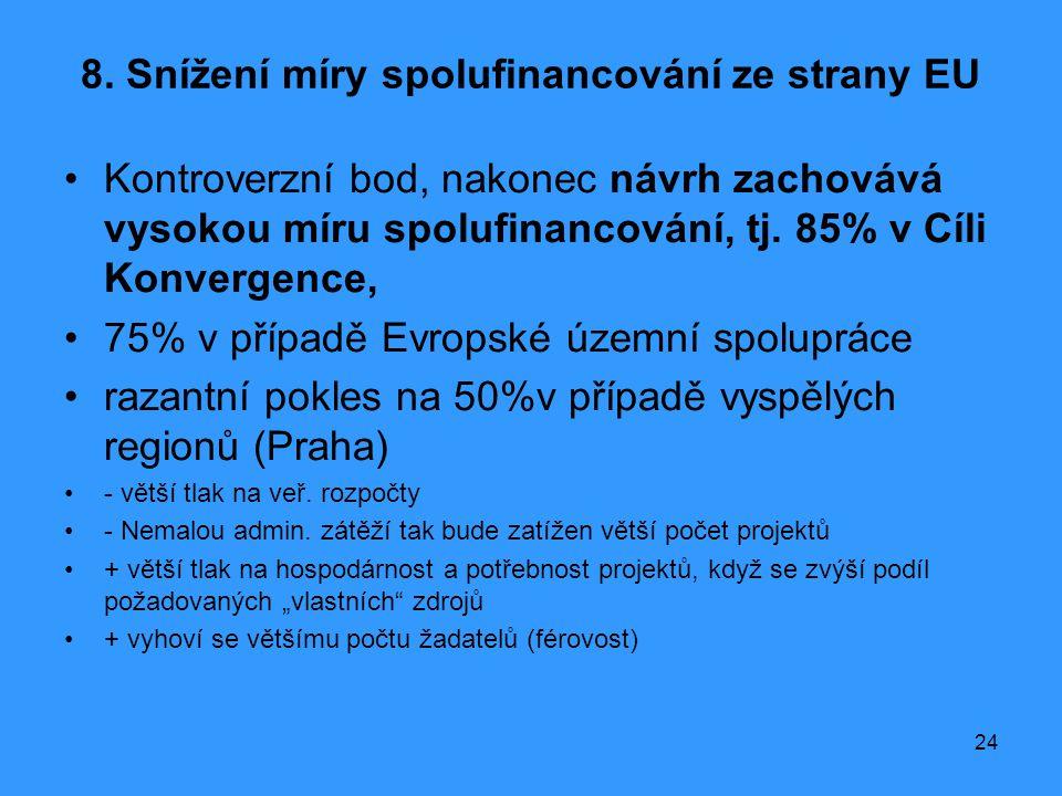 24 8. Snížení míry spolufinancování ze strany EU •Kontroverzní bod, nakonec návrh zachovává vysokou míru spolufinancování, tj. 85% v Cíli Konvergence,
