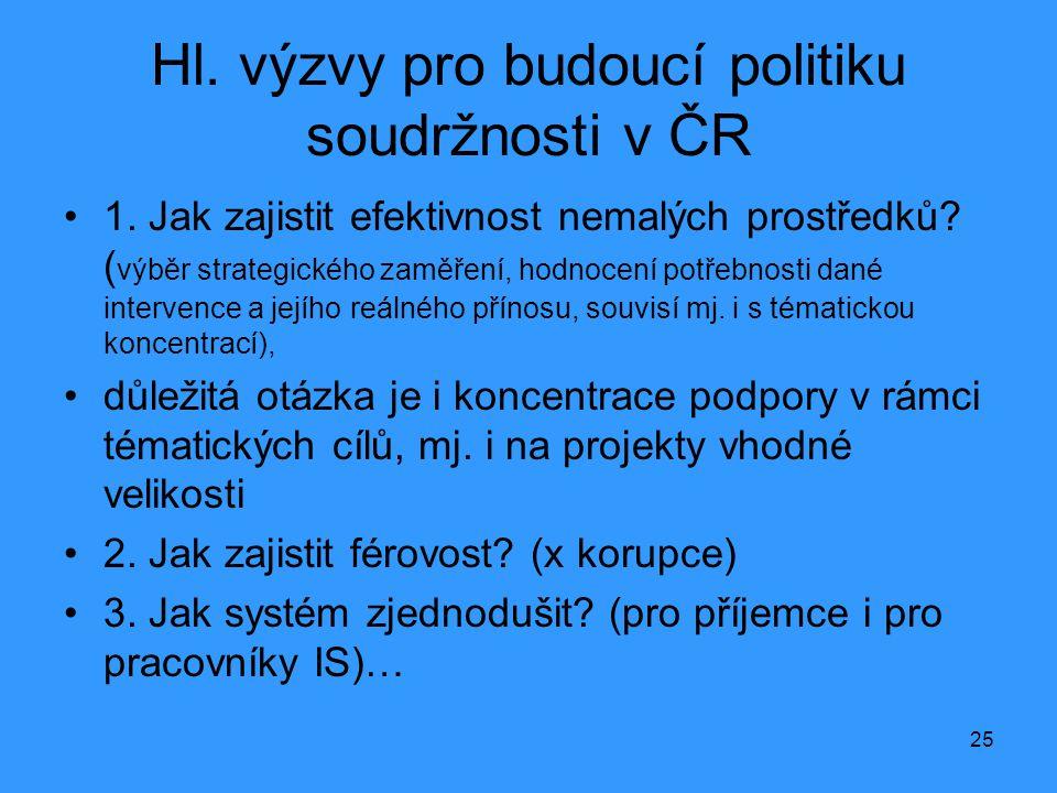 25 Hl. výzvy pro budoucí politiku soudržnosti v ČR •1. Jak zajistit efektivnost nemalých prostředků? ( výběr strategického zaměření, hodnocení potřebn