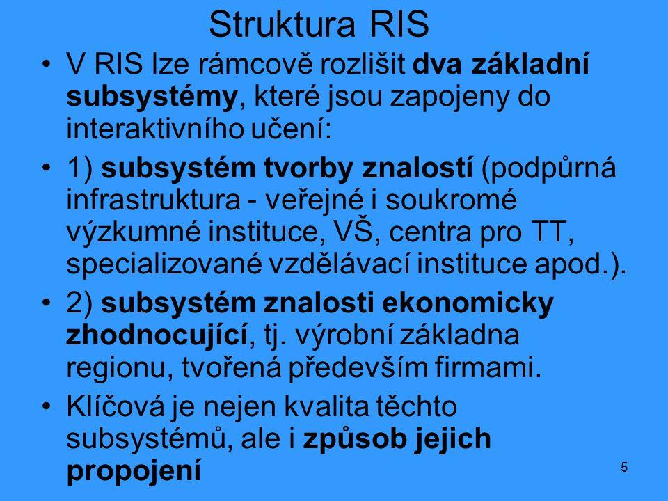 5 Struktura RIS •V RIS lze rámcově rozlišit dva základní subsystémy, které jsou zapojeny do interaktivního učení: •1) subsystém tvorby znalostí (podpůrná infrastruktura - veřejné i soukromé výzkumné instituce, VŠ, centra pro TT, specializované vzdělávací instituce apod.).