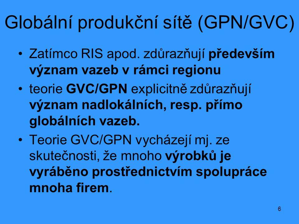 6 Globální produkční sítě (GPN/GVC) •Zatímco RIS apod. zdůrazňují především význam vazeb v rámci regionu •teorie GVC/GPN explicitně zdůrazňují význam