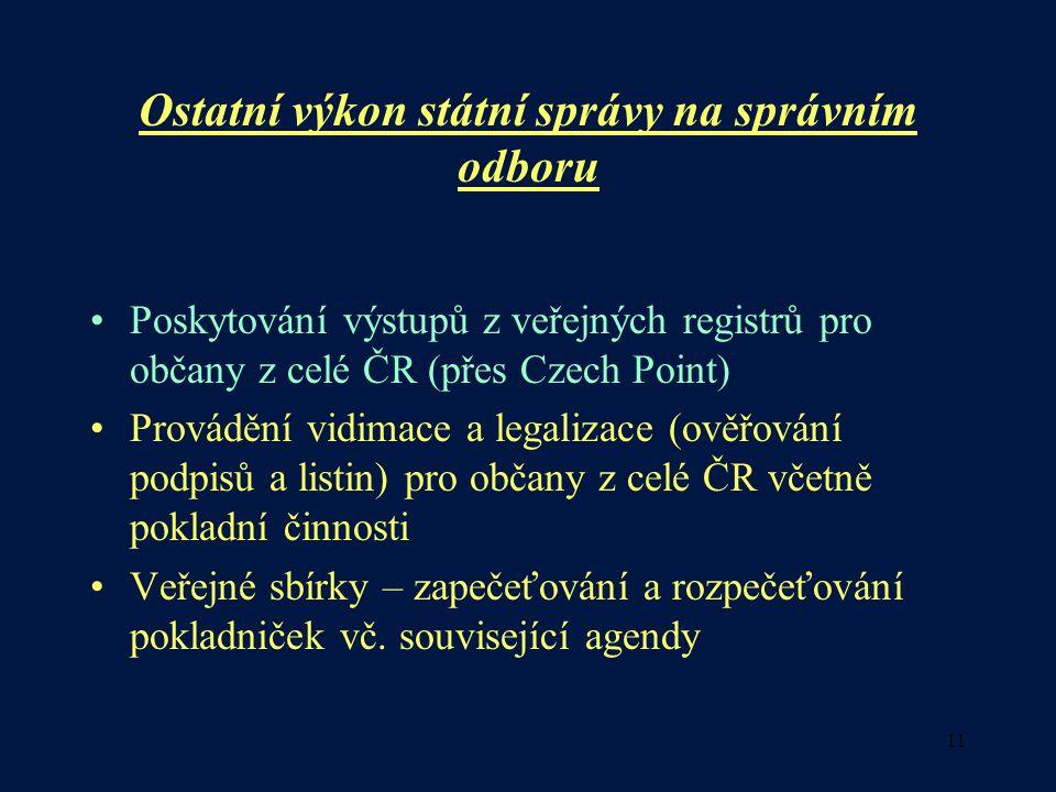 11 Ostatní výkon státní správy na správním odboru •Poskytování výstupů z veřejných registrů pro občany z celé ČR (přes Czech Point) •Provádění vidimac