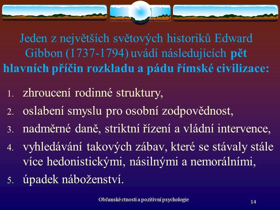 Jeden z největších světových historiků Edward Gibbon (1737-1794) uvádí následujících pět hlavních příčin rozkladu a pádu římské civilizace: 1. zhrouce