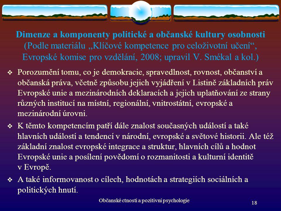 """Dimenze a komponenty politické a občanské kultury osobnosti (Podle materiálu """"Klíčové kompetence pro celoživotní učení"""", Evropské komise pro vzdělání,"""
