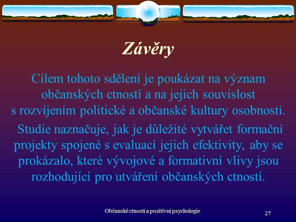 Závěry Cílem tohoto sdělení je poukázat na význam občanských ctností a na jejich souvislost s rozvíjením politické a občanské kultury osobnosti. Studi