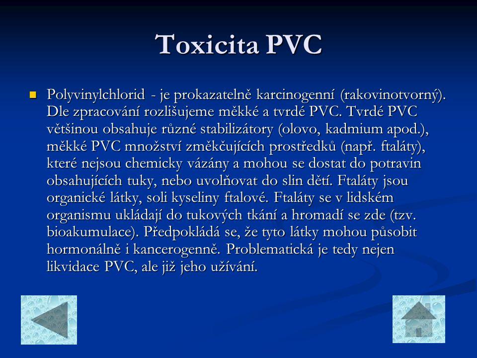 Toxicita PVC  Polyvinylchlorid - je prokazatelně karcinogenní (rakovinotvorný). Dle zpracování rozlišujeme měkké a tvrdé PVC. Tvrdé PVC většinou obsa