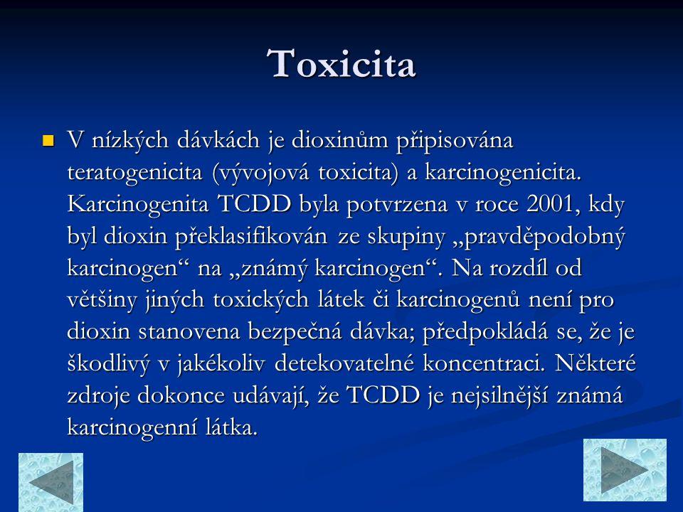 Toxicita  V nízkých dávkách je dioxinům připisována teratogenicita (vývojová toxicita) a karcinogenicita. Karcinogenita TCDD byla potvrzena v roce 20