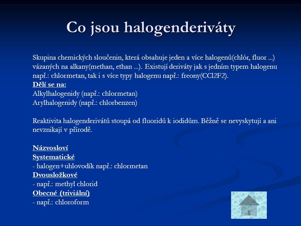 Co jsou halogenderiváty Skupina chemických sloučenin, která obsahuje jeden a více halogenů(chlór, fluor...) vázaných na alkany(methan, ethan...). Exis