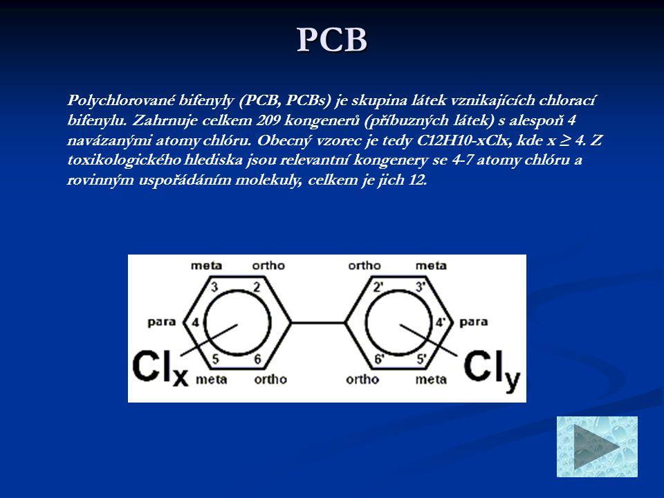 PCB Polychlorované bifenyly (PCB, PCBs) je skupina látek vznikajících chlorací bifenylu. Zahrnuje celkem 209 kongenerů (příbuzných látek) s alespoň 4