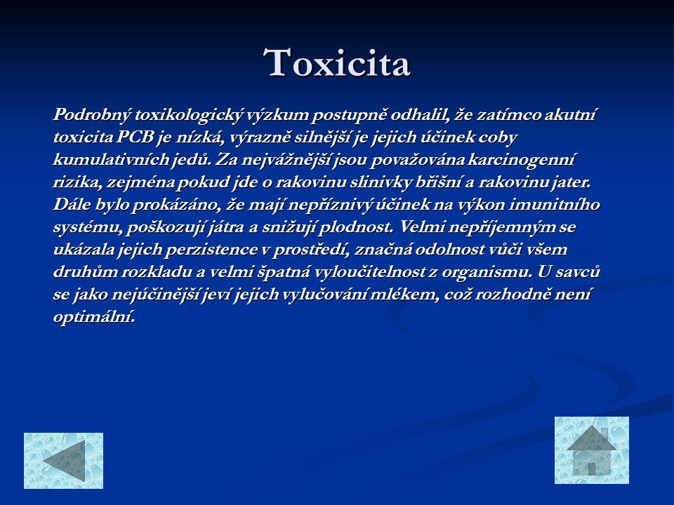 Toxicita Podrobný toxikologický výzkum postupně odhalil, že zatímco akutní toxicita PCB je nízká, výrazně silnější je jejich účinek coby kumulativních