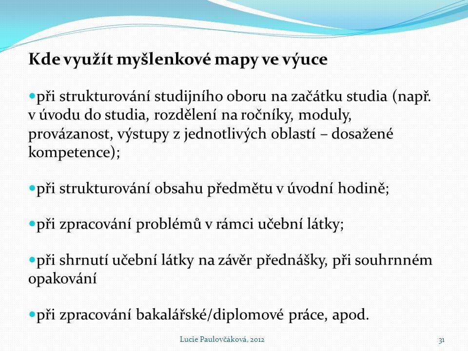 Kde využít myšlenkové mapy ve výuce  při strukturování studijního oboru na začátku studia (např.
