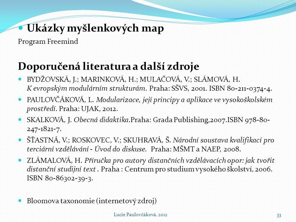  Ukázky myšlenkových map Program Freemind Doporučená literatura a další zdroje  BYDŽOVSKÁ, J.; MARINKOVÁ, H.; MULAČOVÁ, V.; SLÁMOVÁ, H.