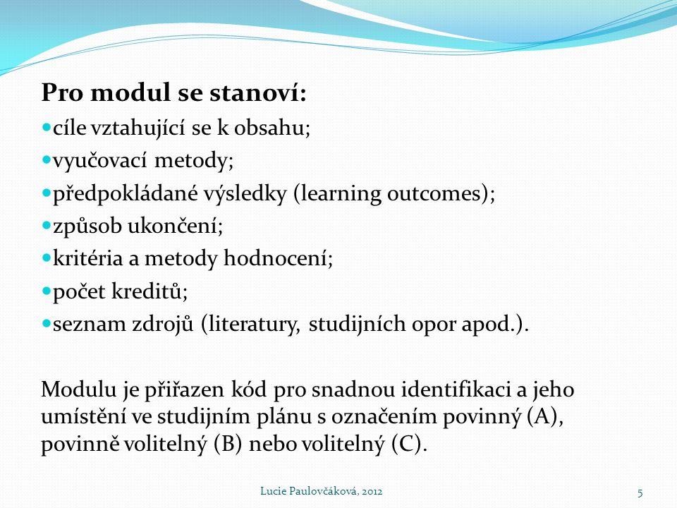 Pro modul se stanoví:  cíle vztahující se k obsahu;  vyučovací metody;  předpokládané výsledky (learning outcomes);  způsob ukončení;  kritéria a