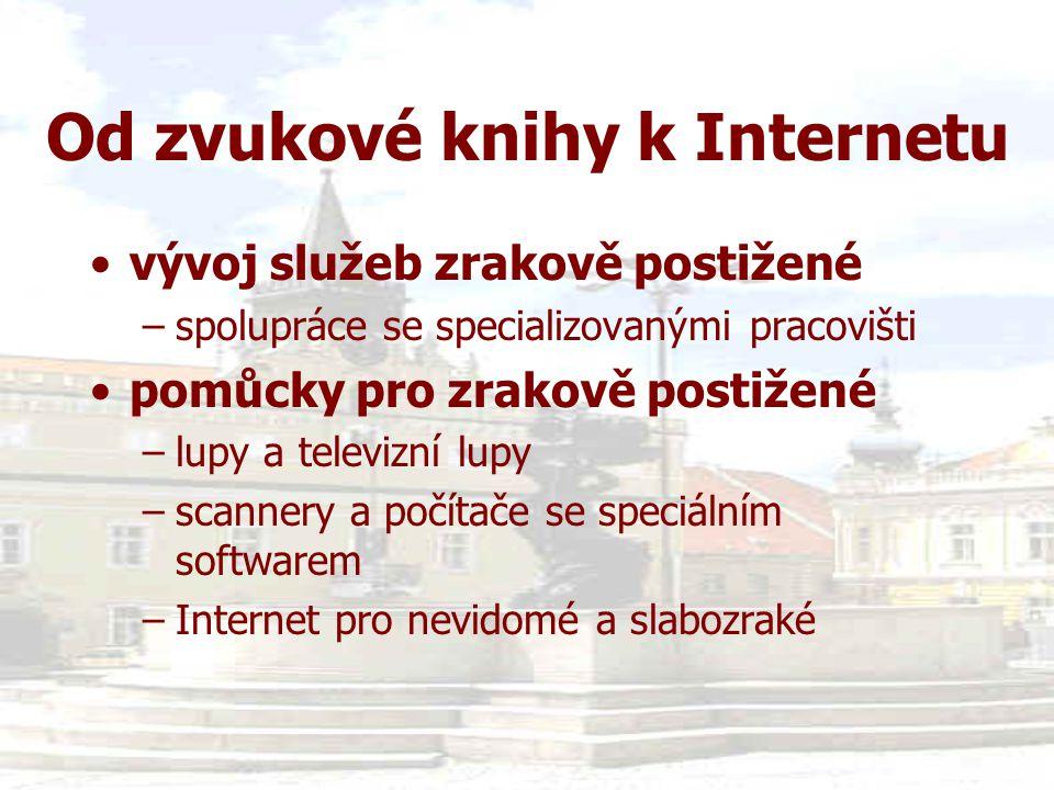 Internet pro nevidomé •Spektra - výrobní družstvo nevidomých, Praha (http://www.braillnet.cz/spektra ) –Win Talker –Visulex - LP WIN –Bizon –ZoomTextXtra •Firma ELVOS s.r.o., Brno