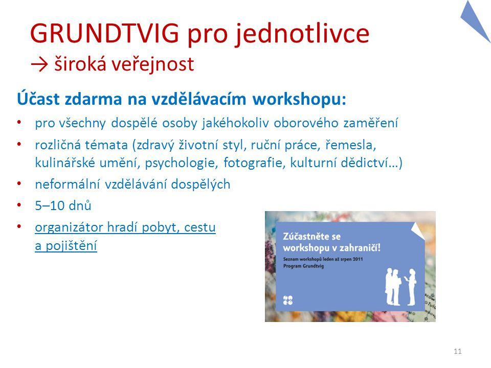 GRUNDTVIG pro jednotlivce → široká veřejnost Účast zdarma na vzdělávacím workshopu: • pro všechny dospělé osoby jakéhokoliv oborového zaměření • rozli