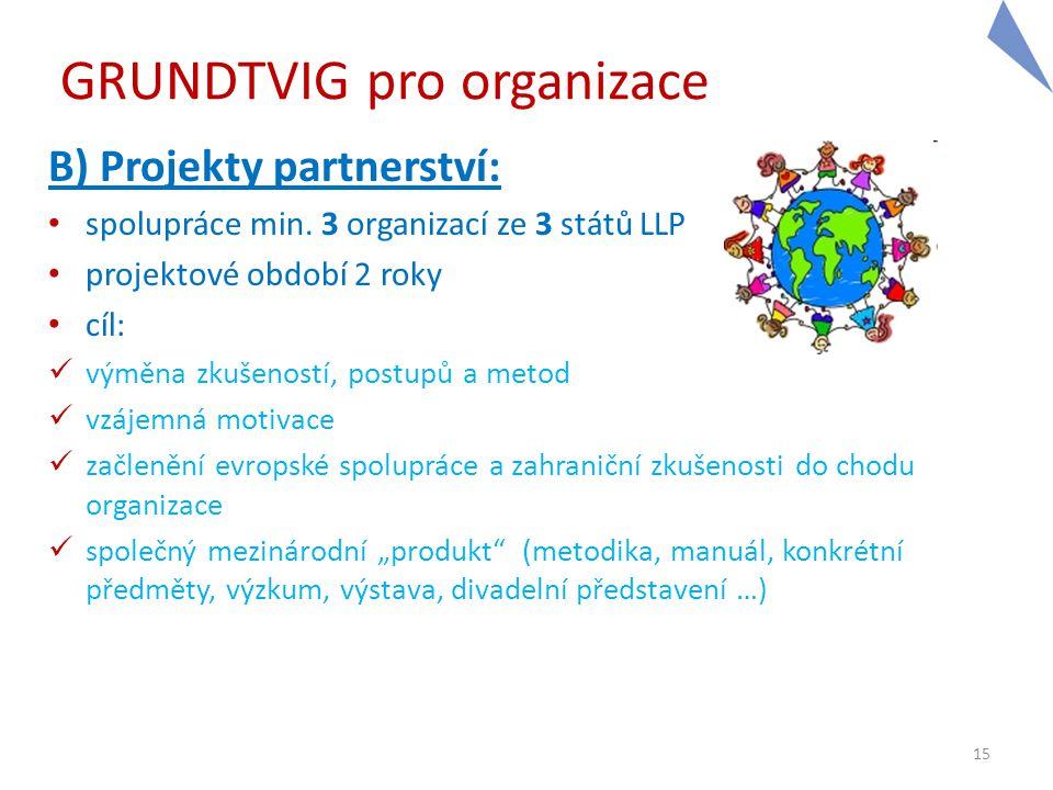 15 GRUNDTVIG pro organizace B) Projekty partnerství: • spolupráce min. 3 organizací ze 3 států LLP • projektové období 2 roky • cíl:  výměna zkušenos